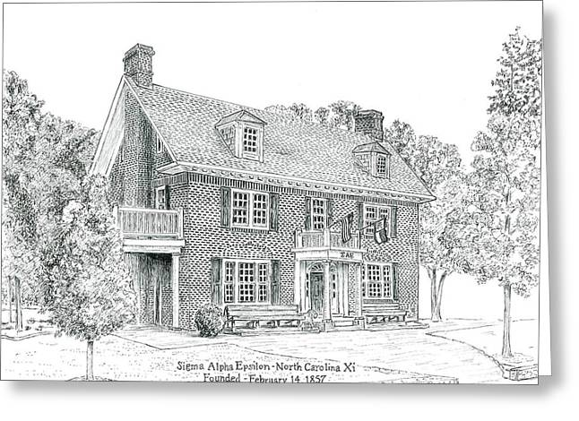 Universities Drawings Greeting Cards - University of North Carolina SAE Xi Greeting Card by John Hopson