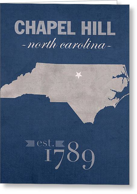 Carolina Mixed Media Greeting Cards - University of North Carolina Tar Heels Chapel Hill UNC College Town State Map Poster Series No 076 Greeting Card by Design Turnpike