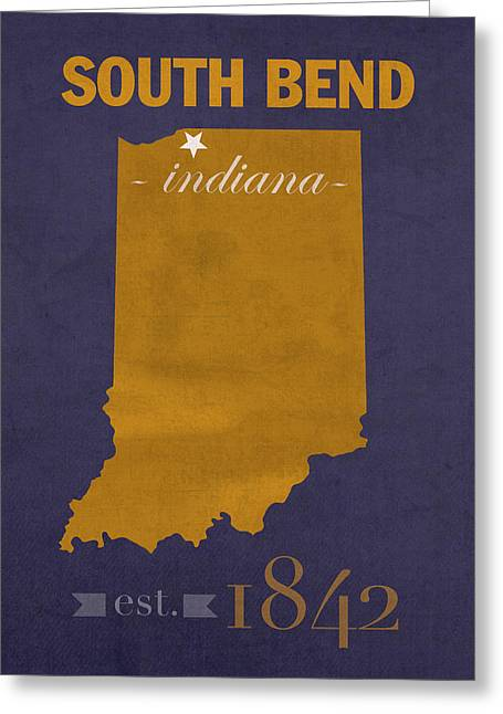 Indiana University Greeting Cards - University of Notre Dame Fighting Irish South Bend College Town State Map Poster Series No 081 Greeting Card by Design Turnpike