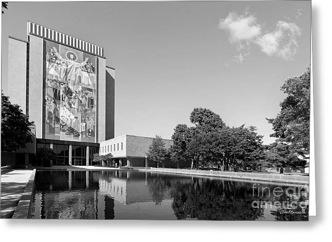 Universities Greeting Cards - University of Notre Dame Hesburgh Library Greeting Card by University Icons