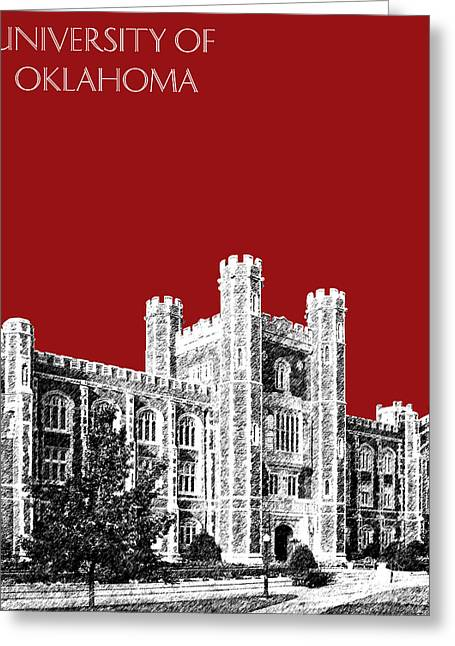 Hall Digital Art Greeting Cards - University of Oklahoma - Dark Red Greeting Card by DB Artist