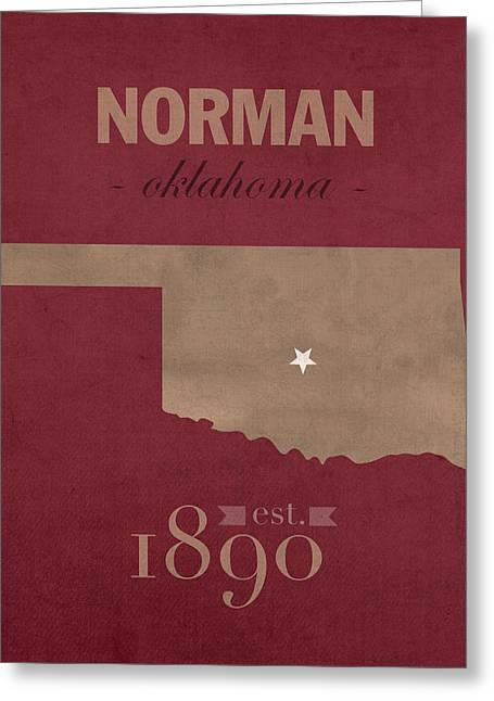 Recently Sold -  - Town Mixed Media Greeting Cards - University of Oklahoma Sooners Norman College Town State Map Poster Series No 083 Greeting Card by Design Turnpike