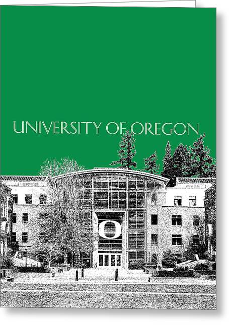 College Room Greeting Cards - University of Oregon - Forest Green Greeting Card by DB Artist