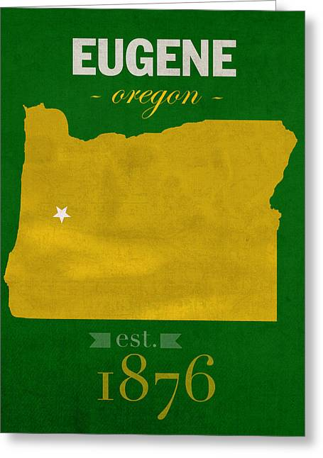 Oregon Ducks Greeting Cards - University of Oregon Ducks Eugene College Town State Map Poster Series No 086 Greeting Card by Design Turnpike