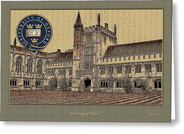Coa Greeting Cards - University of Oxford Magdalen College building overlaid with Official 3D Seal - Coat of Arms Greeting Card by Serge Averbukh