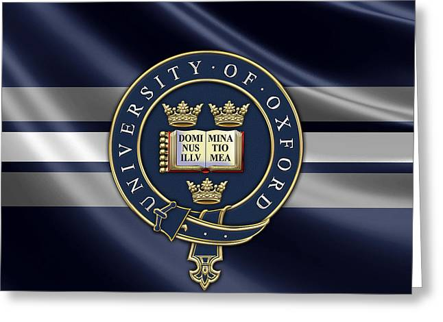 Coa Greeting Cards - University of Oxford Seal - Coat of Arms over Colours Greeting Card by Serge Averbukh