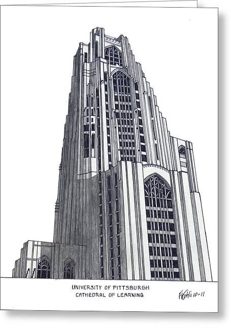 University Building Drawings Greeting Cards - University of Pittsburgh Greeting Card by Frederic Kohli