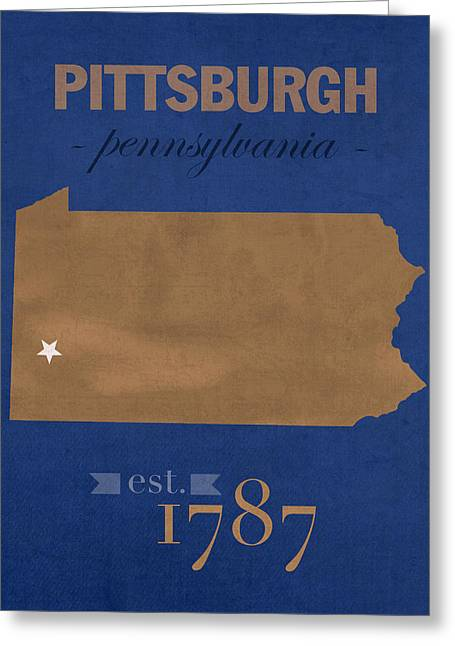 Pittsburgh Greeting Cards - University of Pittsburgh Pennsylvania Panthers College Town State Map Poster Series No 089 Greeting Card by Design Turnpike