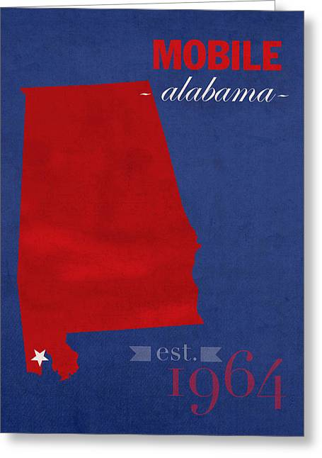 Mobile Greeting Cards - University of South Alabama Jaguars Mobile College Town State Map Poster Series No 095 Greeting Card by Design Turnpike
