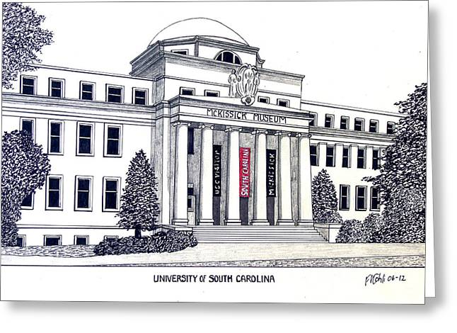 College Campus Buildings Drawings Greeting Cards - University of South Carolina Greeting Card by Frederic Kohli