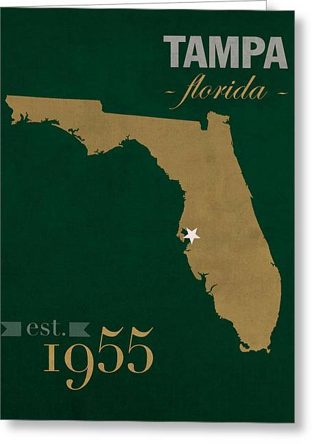 Bulls Mixed Media Greeting Cards - University of South Florida Bulls Tampa Florida College Town State Map Poster Series No 101 Greeting Card by Design Turnpike