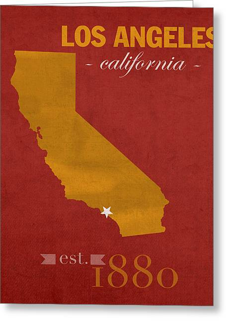 Trojan Greeting Cards - University of Southern California Trojans Los Angeles College Town State Map Poster Series No 097 Greeting Card by Design Turnpike