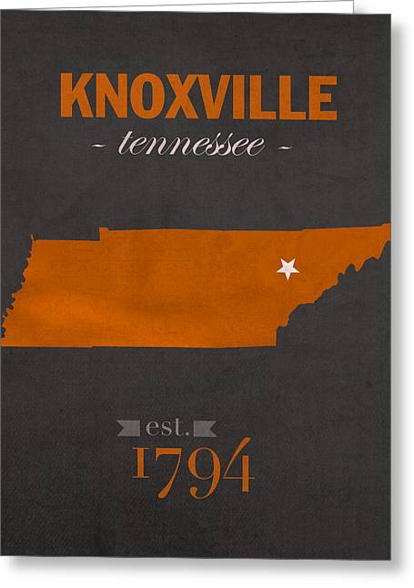 Ut Greeting Cards - University of Tennessee Volunteers Knoxville College Town State Map Poster Series No 104 Greeting Card by Design Turnpike