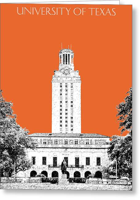 Ut Tower Greeting Cards - University of Texas - Coral Greeting Card by DB Artist