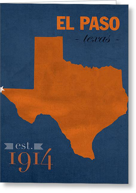 University Of Texas Greeting Cards - University of Texas at El Paso UTEP Miners College Town State Map Poster Series No 110 Greeting Card by Design Turnpike