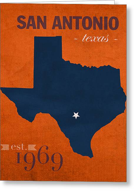 Duke Greeting Cards - University of Texas at San Antonio Roadrunners College Town State Map Poster Series No 111 Greeting Card by Design Turnpike