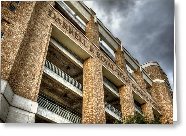 Austin Landmarks Greeting Cards - University of Texas Football Stadium Greeting Card by Joan Carroll