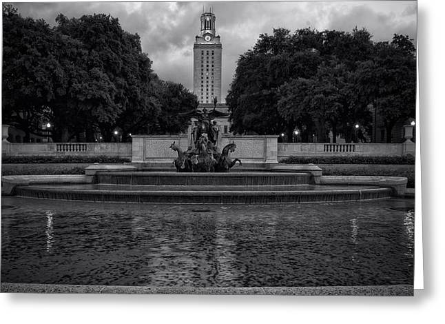Concrete Sculpture Greeting Cards - University of Texas Icons BW Greeting Card by Joan Carroll