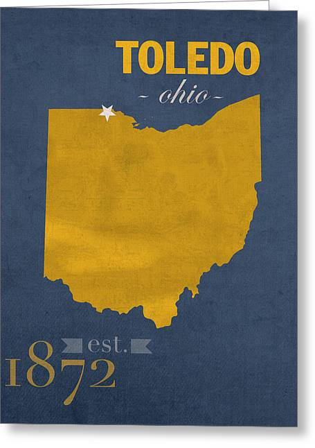 Duke Mixed Media Greeting Cards - University of Toledo Ohio Rockets College Town State Map Poster Series No 112 Greeting Card by Design Turnpike