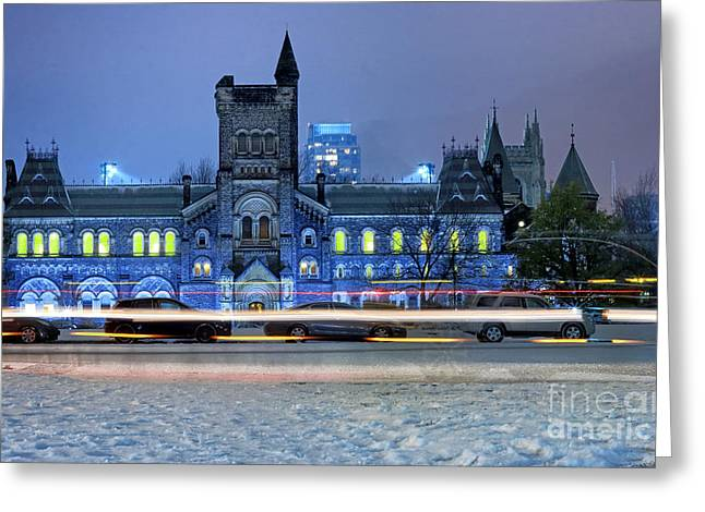 College Buildings Images Greeting Cards - University of Toronto Winter Night Greeting Card by Charline Xia
