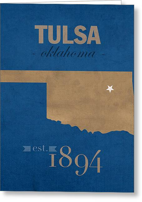 Duke Greeting Cards - University of Tulsa Oklahoma Golden Hurricane College Town State Map Poster Series No 115 Greeting Card by Design Turnpike