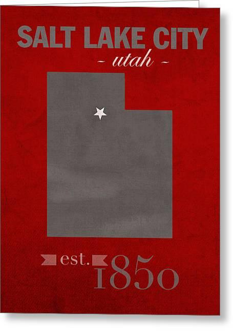 Duke Greeting Cards - University of Utah Utes Salt Lake City College Town State Map Poster Series No 116 Greeting Card by Design Turnpike
