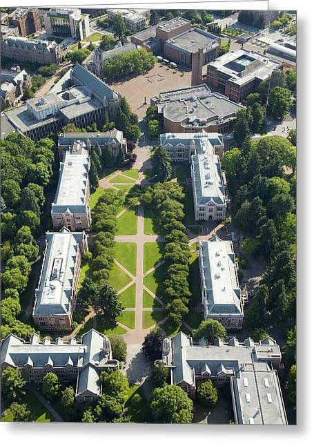 Campus Landscape Greeting Cards - University Of Washington Campus, Seattle Greeting Card by Andrew Buchanan/SLP