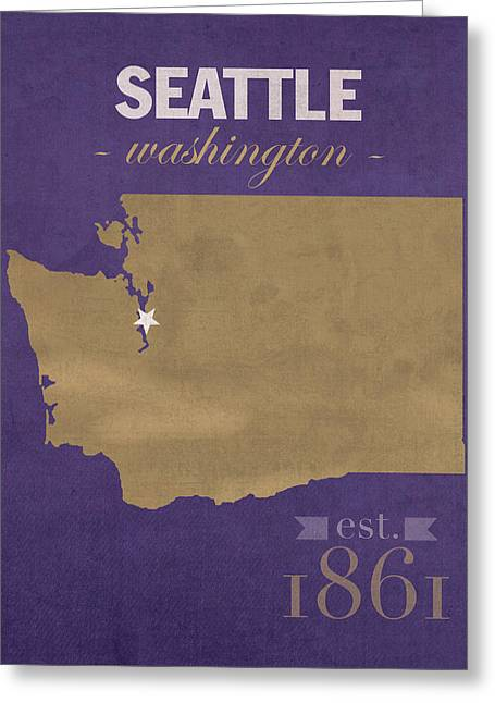 Husky Greeting Cards - University of Washington Huskies Seattle College Town State Map Poster Series No 122 Greeting Card by Design Turnpike