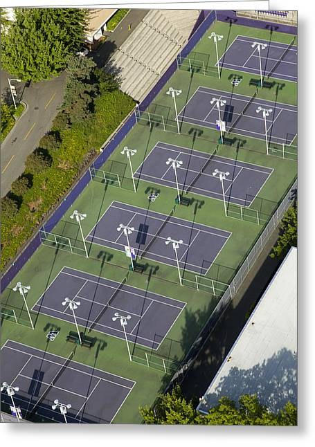 Oblique Greeting Cards - University Of Washington Tennis Courts Greeting Card by Andrew Buchanan/SLP