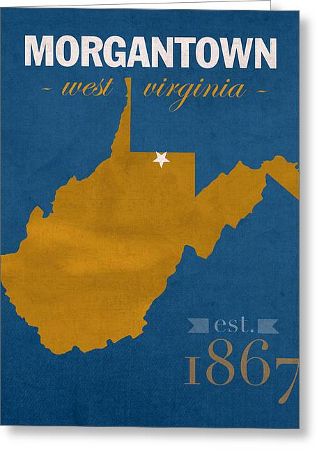 Duke Mixed Media Greeting Cards - University of West Virginia Mountaineers Morgantown WV College Town State Map Poster Series No 124 Greeting Card by Design Turnpike