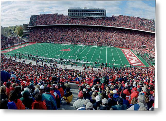 University Of Wisconsin Greeting Cards - University Of Wisconsin Football Game Greeting Card by Panoramic Images