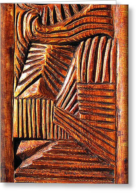 Painted Wood Reliefs Greeting Cards - Unknown Greeting Card by Carlo Olkeriil
