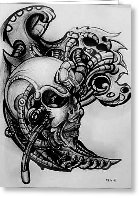 Cog Drawings Greeting Cards - Unknown Greeting Card by Chris Gill