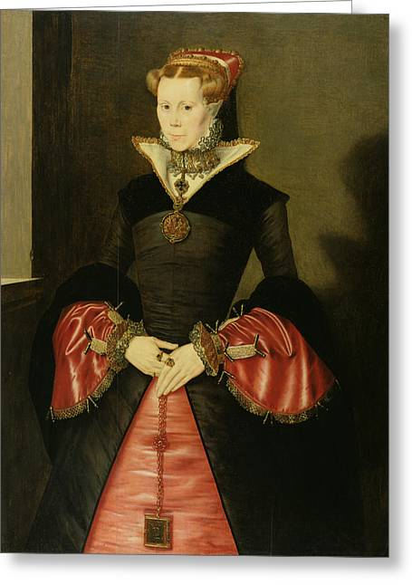 Thin Paintings Greeting Cards - Unknown Lady From The Court Of King Greeting Card by Hans Eworth or Ewoutsz