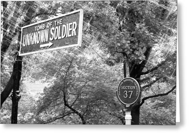 4th July Digital Greeting Cards - Unknown Soldier - ahc bw Greeting Card by Angelia Hodges Clay