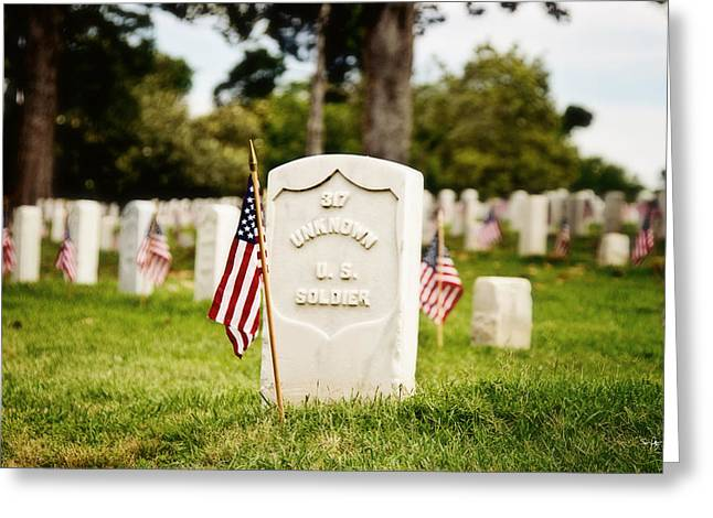 Soldiers National Cemetery Greeting Cards - Unknown U.S. Soldier Greeting Card by Scott Pellegrin