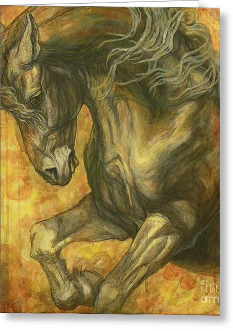 Horses Paintings Greeting Cards - Unleashed Greeting Card by Silvana Gabudean