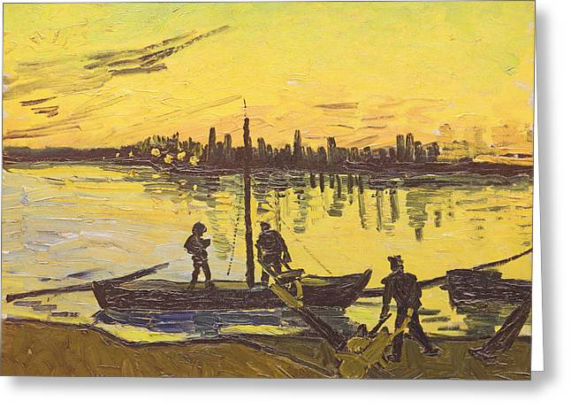 Working Boats Greeting Cards - Unloaders In Arles, 1888 Oil On Canvas Greeting Card by Vincent van Gogh
