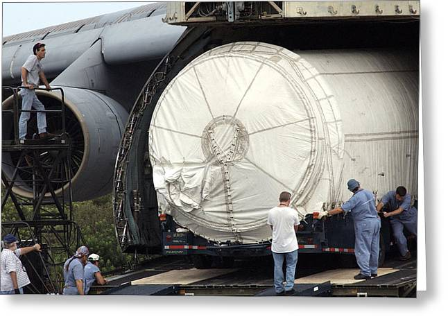 Greeting Card featuring the photograph Unloading A Titan Ivb Rocket by Science Source
