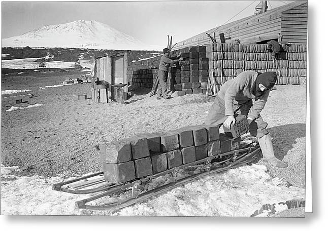 Unloading Antarctic Fuel Supplies Greeting Card by Scott Polar Research Institute