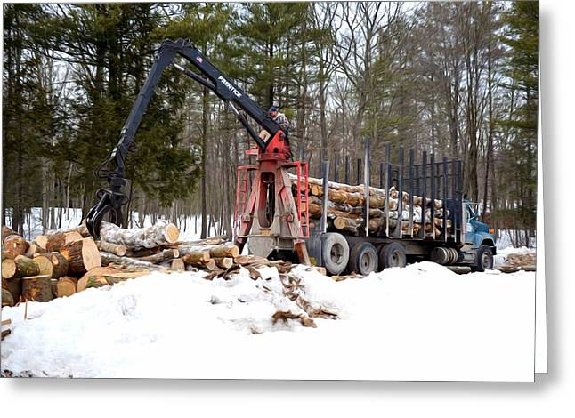 Logging Truck Paintings Greeting Cards - Unloading firewood 1 Greeting Card by Lanjee Chee