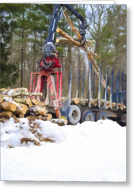 Logging Truck Paintings Greeting Cards - Unloading firewood 10 Greeting Card by Lanjee Chee