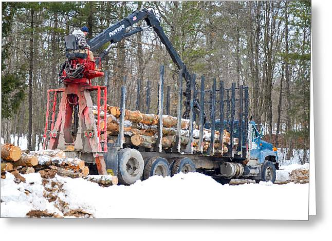 Logging Truck Paintings Greeting Cards - Unloading firewood 2 Greeting Card by Lanjee Chee