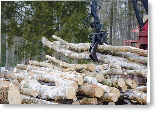 Logging Truck Paintings Greeting Cards - Unloading firewood 4 Greeting Card by Lanjee Chee