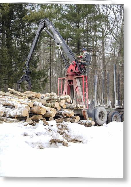 Logging Truck Paintings Greeting Cards - Unloading firewood 5 Greeting Card by Lanjee Chee