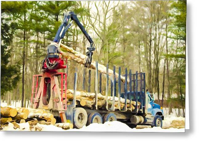 Logging Truck Paintings Greeting Cards - Unloading firewood 6 Greeting Card by Lanjee Chee