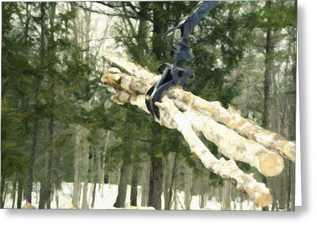 Logging Truck Paintings Greeting Cards - Unloading firewood 7 Greeting Card by Lanjee Chee