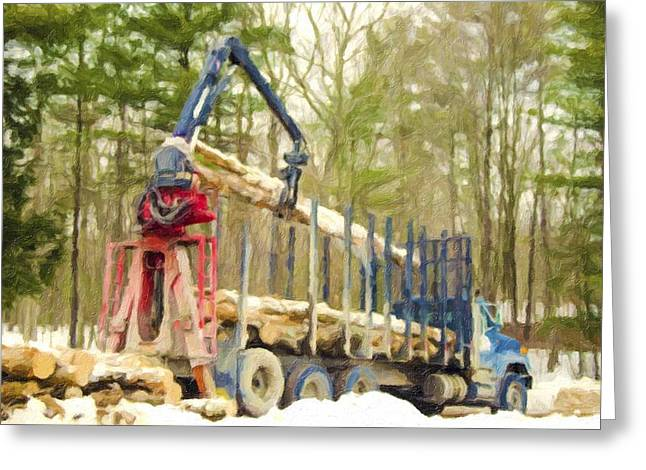 Logging Truck Paintings Greeting Cards - Unloading firewood 9 Greeting Card by Lanjee Chee