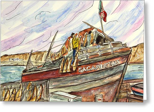 Tim Ross Greeting Cards - Unloading His Catch Greeting Card by Tim Ross