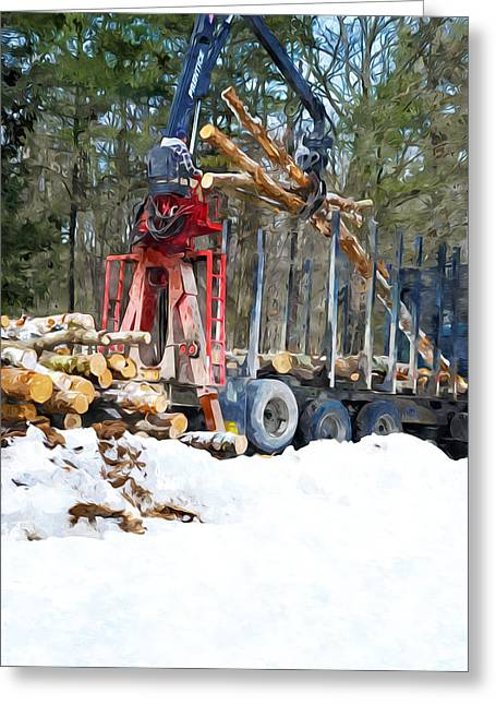 Logging Truck Paintings Greeting Cards - Unloading of logs on transport Greeting Card by Lanjee Chee